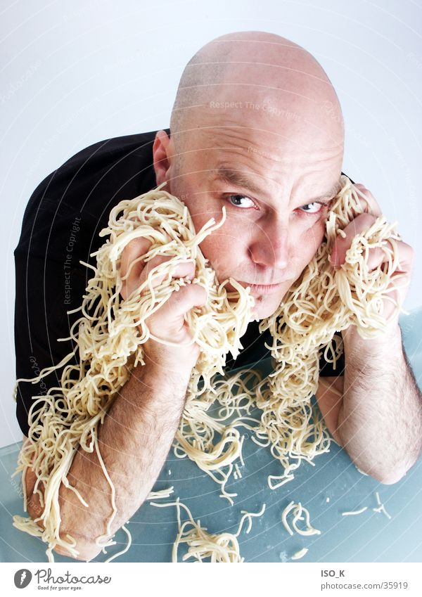Man Blue Face Nutrition Playing Food Lifestyle Workshop Bald or shaved head Facial expression Noodles