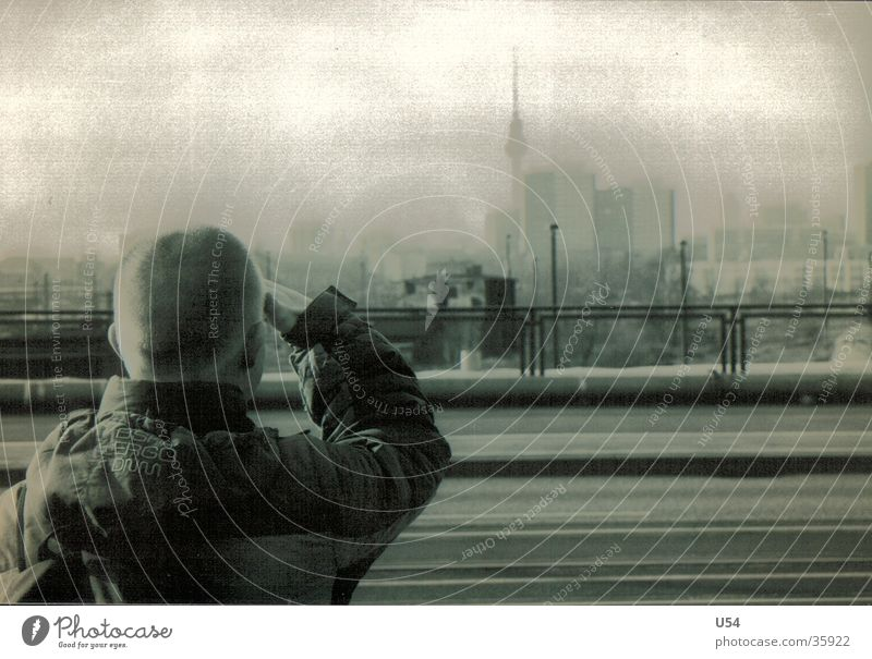 Where...? Clouds Man Berlin Street Bridge Sky Capital city Television tower