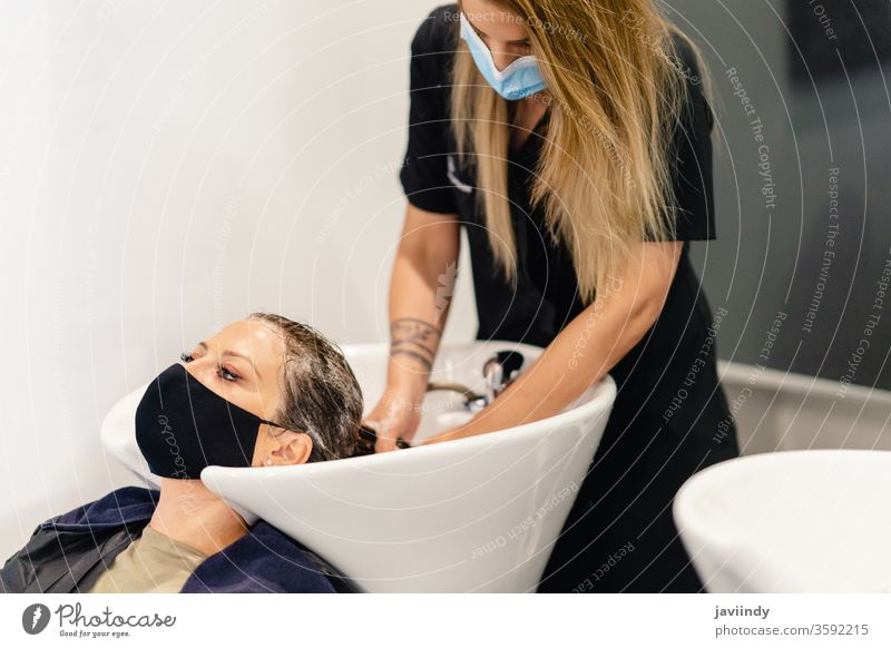 Female hairdresser washing a client's head in a salon, protected by a mask woman massage sink stylist beauty shampoo care water professional foam female