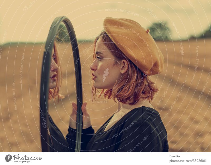 Woman in the mirror Mirror Mirror image Reflection Colour photo Human being mirror mirror mirror Beauty & Beauty look at Meditative