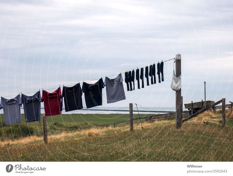 Cloudy weather clothesline Laundry Clothesline Shirts socks Diagonal Dreary Dry Clothes peg hang Clothing Country life In pairs from change reverberant
