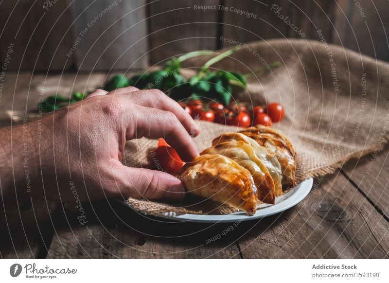Delectable turnover pies with tomatoes and herbs pastry homemade food baked fill spinach tradition spanish appetizing tasty meal cuisine cook dish culinary