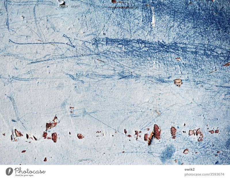 It gathers Wall (building) Tin Colour Unclear Scratch mark Flake off Ravages of time dilapidated Tracks Blue Detail Old Deserted Structures and shapes