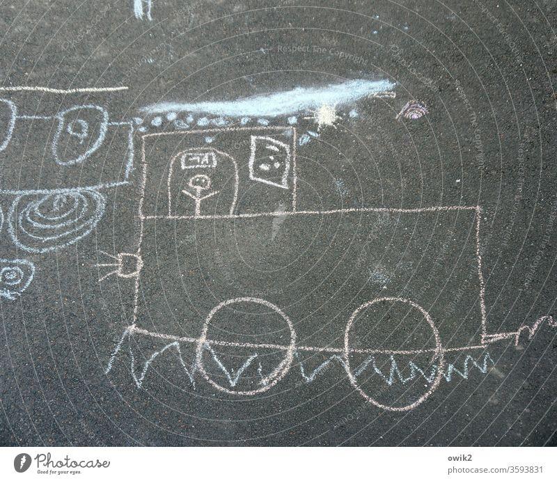 trip Chalk drawing chalk painting Childlike Asphalt Under Street Street art Street painting Engines Train train ride Playing Day Infancy Drawing Art Joy