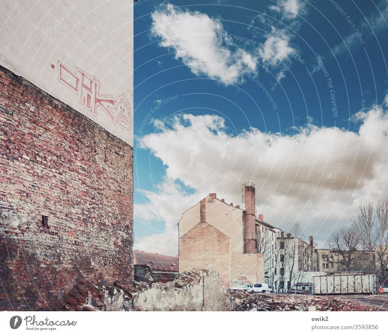 Good old Görlitz Ruin Building for demolition Shabby Vacancy Historic Environment Contrast Construction site Sky Shadow Rest of a wall Brown Copy Space top