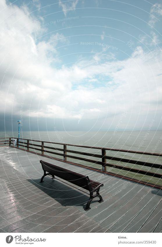 After the rain Vacation & Travel Tourism Bench Bridge railing Water Sky Clouds Horizon Beautiful weather Coast Baltic Sea Zingst Seabridge Zingst