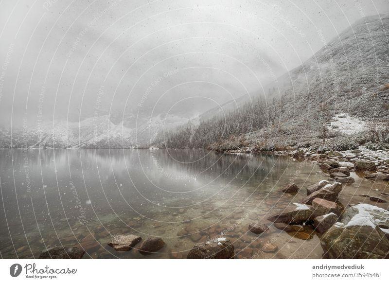 mountain lake in winter. Morske Oko. Poland alberta alps austria background banff bavaria bavarian beautiful blue crater forest germany landscape mountains