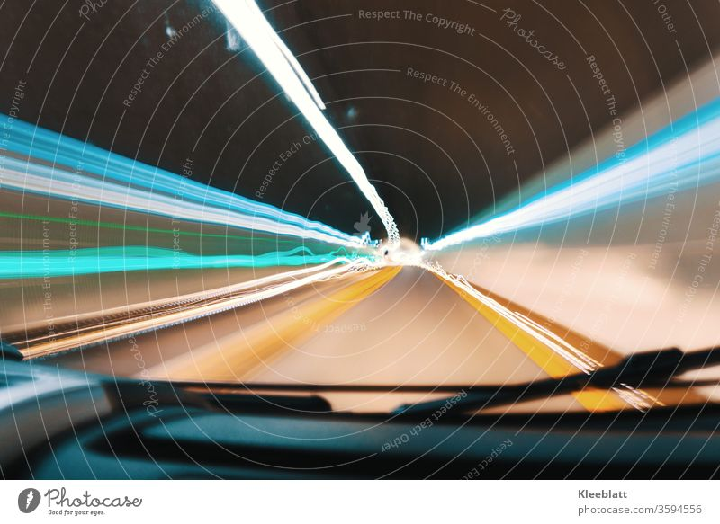 Strip lights, tunnel lights green blue white yellow and black Long time exposure while driving sidelights, tunnel drive Long exposure Line Speed Movement Light