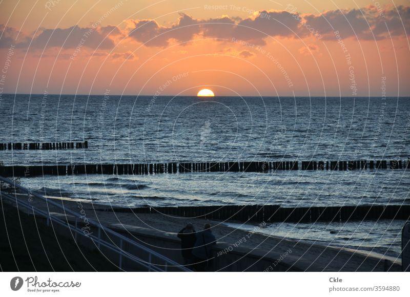 Kühlungsborn Baltic Sea Beach Stage Sunset Ocean Evening Waves spectators outlook Romance Clouds Sky Water Coast Nature Colour photo Exterior shot