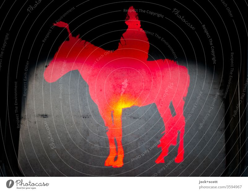 Mongolian rider stands still and calm in front of red traffic light Artificial light Silhouette Pictogram Comic Stand Wait Illuminate Traffic light Design