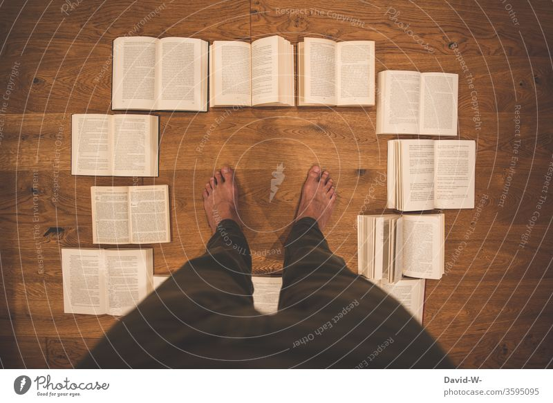 many opened books from the bird's eye view with text space in the middle Book Reading Education formed Study Parquet floor wooden floor Page Academic studies