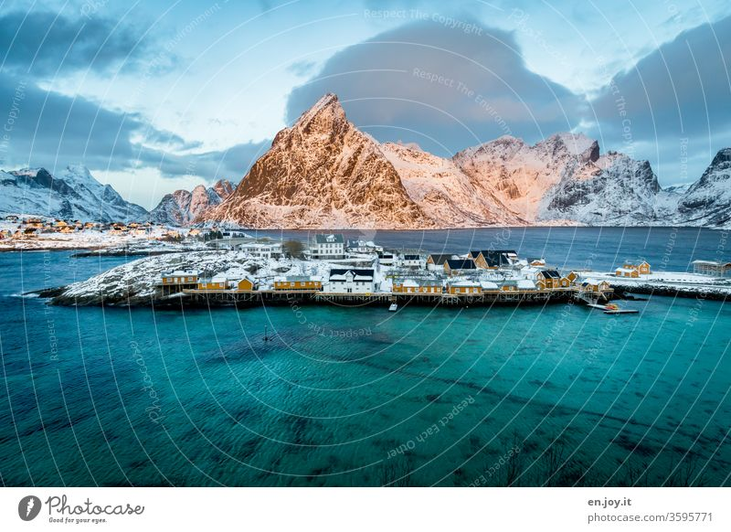 Sakrisoy on the Lofoten in winter Lofotes Norway Scandinavia North Sakrisøy Ocean Winter Vacation & Travel Snowcapped peak Vacation in Norway seascape Fjord