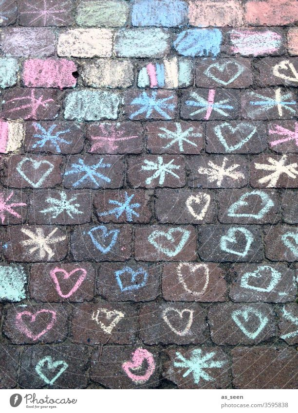 Hearts and stars on the way Stars Chalk Street Drawing Child Childlike Street painting Chalk drawing corona variegated Colour photo Playing Infancy