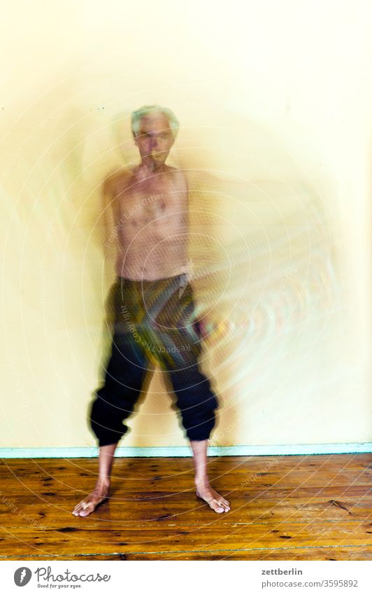 The moving man Action motion blur Movement variegated havoc Blanket Rotation spirit spectral Gestures Man Human being person drama Hazy Stand dance blurred