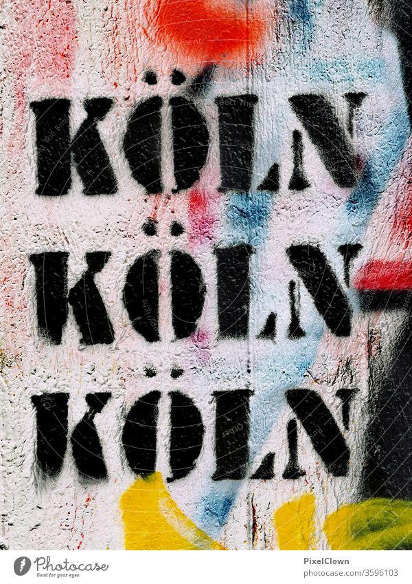 Cologne Dome Colour photo Rhine Tourist Attraction Landmark Graffiti North Rhine-Westphalia Germany Town