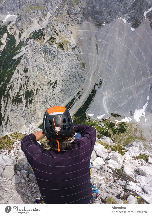 the observer Mountain Mountaineering Nature Fear of heights outlook enjoying the view Landscape Exterior shot Colour photo Keen insight Break take a break Brave