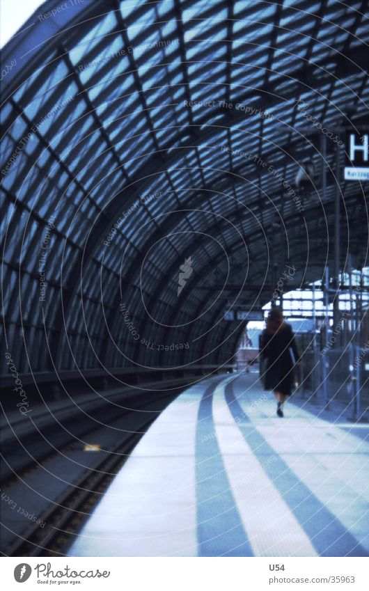Woman Berlin Wait Architecture Railroad Future Train station Platform Arrival Berlin Hauptbahnhof