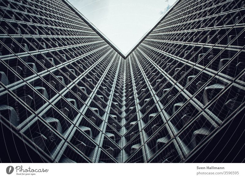Looking up to modern architecture Perspective built Exterior shot Sky Architecture Day Colour photo Facade Symmetry Structures and shapes Abstract Window Modern