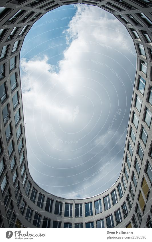 View upwards from oval building Architecture Facade Abstract Modern built Colour photo great Sky Perspective Window Symmetry Style Worm's-eye view Cladding Tall