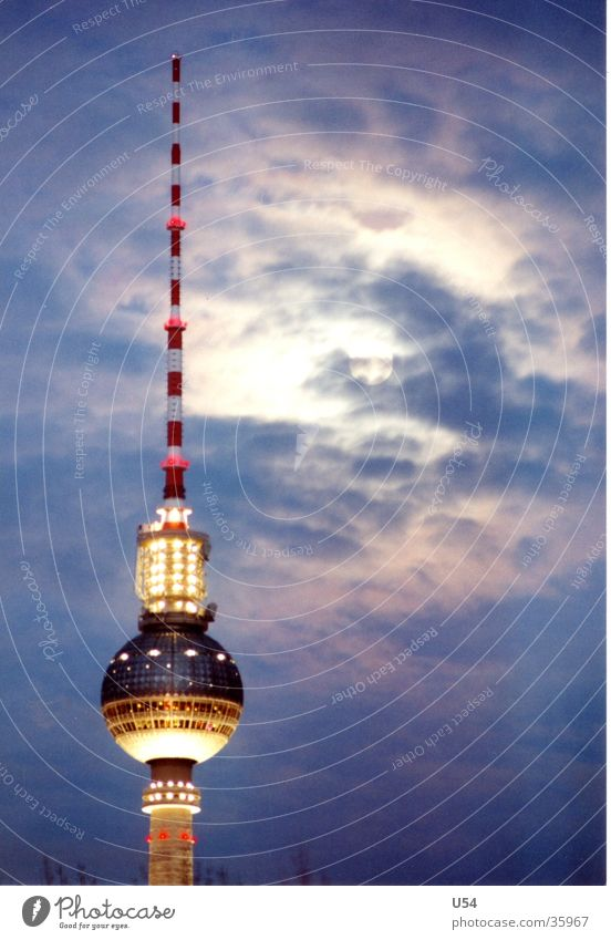 Sky Clouds Berlin Architecture Tower Moon Capital city Berlin TV Tower