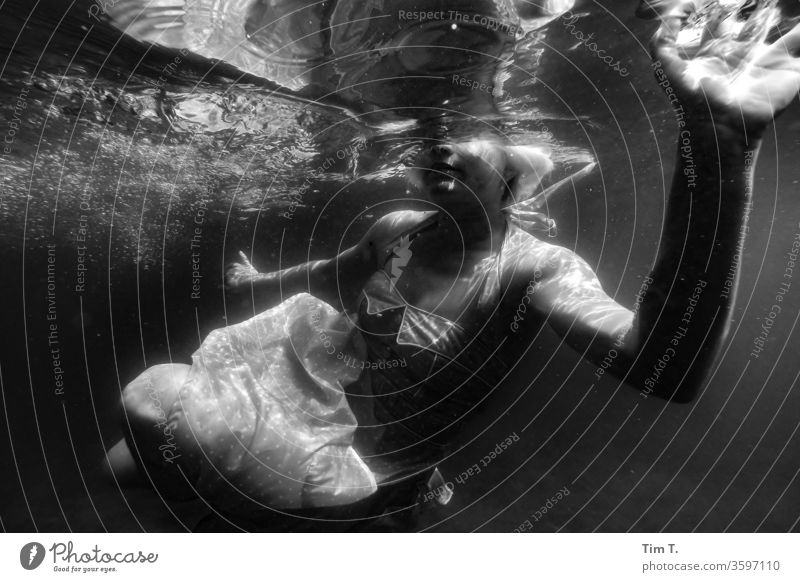 mermaid Water Float in the water liepnitzsee Swimming & Bathing Lake girl woman Underwater photo Dress Dive Woman Wet Human being Feminine Young woman