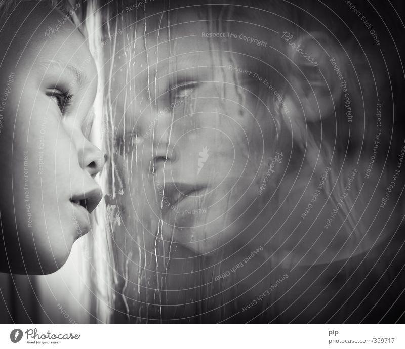 Human being Child Summer Loneliness Window Sadness Head Rain Infancy Meditative Wait Wet Gloomy Hope Boredom Divide