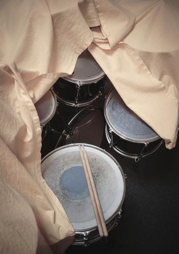 artistic pause Drum set covered Music Musical instrument Snare Tom Tom sticks Basin Rhythm Deserted Detail Colour photo Break Interior shot Art Long shot