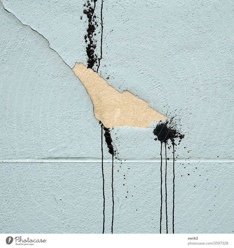 Annoying Wall (building) Facade Crack & Rip & Tear Colour Blotches Stripe nose Tracks Aggression Force Anger furious Exterior shot Colour photo Deserted