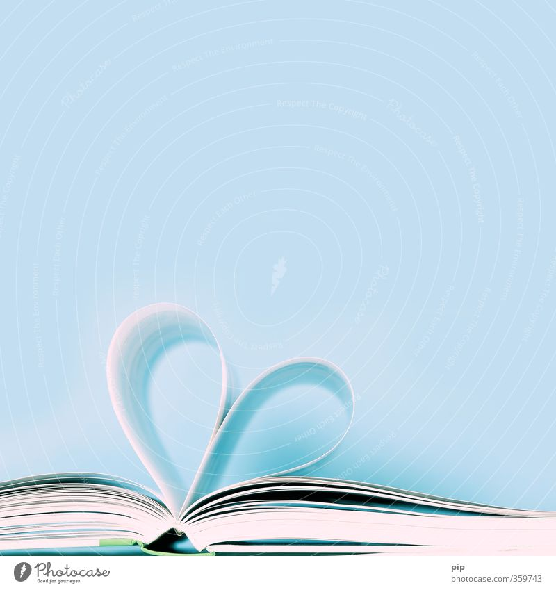 Blue Love Open Book Heart Study Paper Reading Passion Page Literature Novel Heart-shaped Struck Fiction To leaf (through a book)