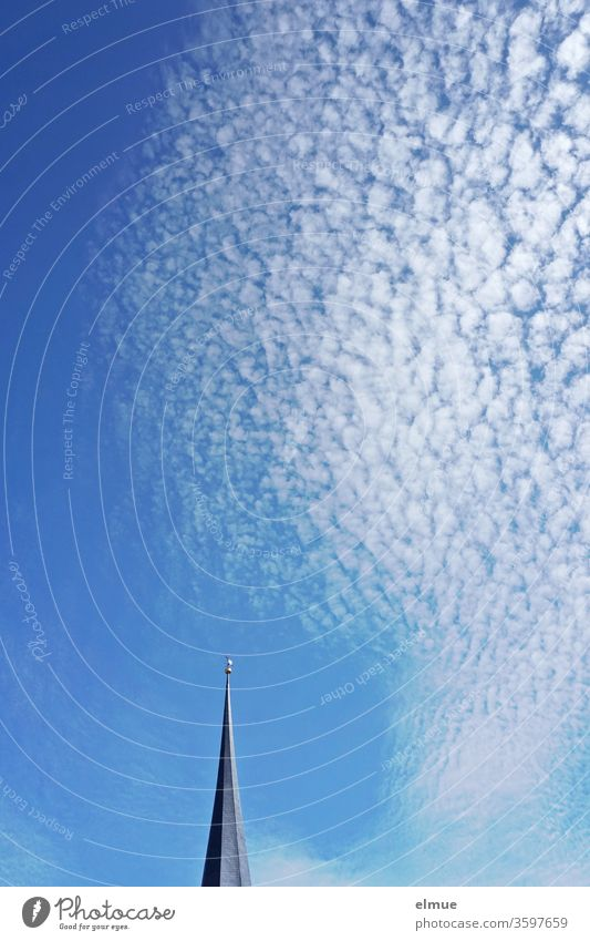 Church spire and cirrocumulus clouds (sheep clouds) in the blue sky Cirrocumulus cloud Cirrocumuli fleecy cloud Sky hairlock Cumulus Cloud plume