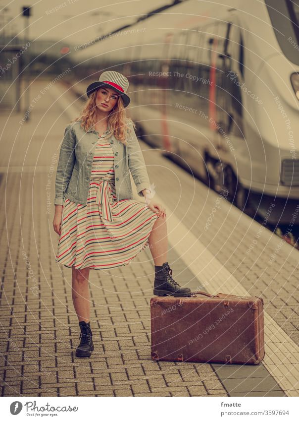 Woman with suitcase on the platform Suitcase Platform voyage Train holidays go away vacation Tourism Luggage Train station Railroad Transport Vacation & Travel
