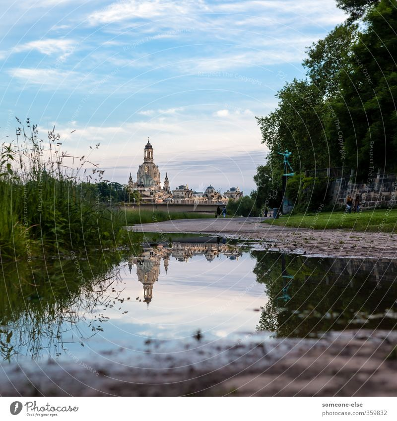 mirror image Vacation & Travel Sightseeing City trip Summer Environment Landscape Water Sky Park Meadow River bank Dresden Town Old town Skyline Church