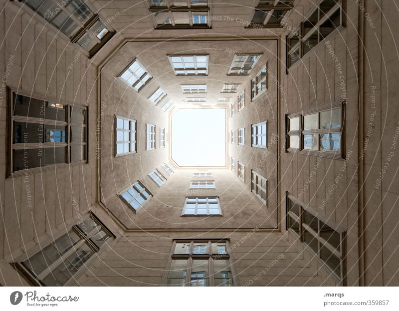 tunnel vision Building Architecture Facade Window Large Tall Perspective Symmetry Real estate market Skyward Above Tunnel vision Vanishing point Vienna