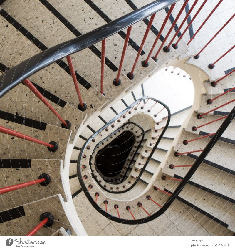 descent Style Stairs Staircase (Hallway) Banister Sign Perspective Deep Interior design Spiral Oval Round Colour photo Interior shot Deserted Bird's-eye view