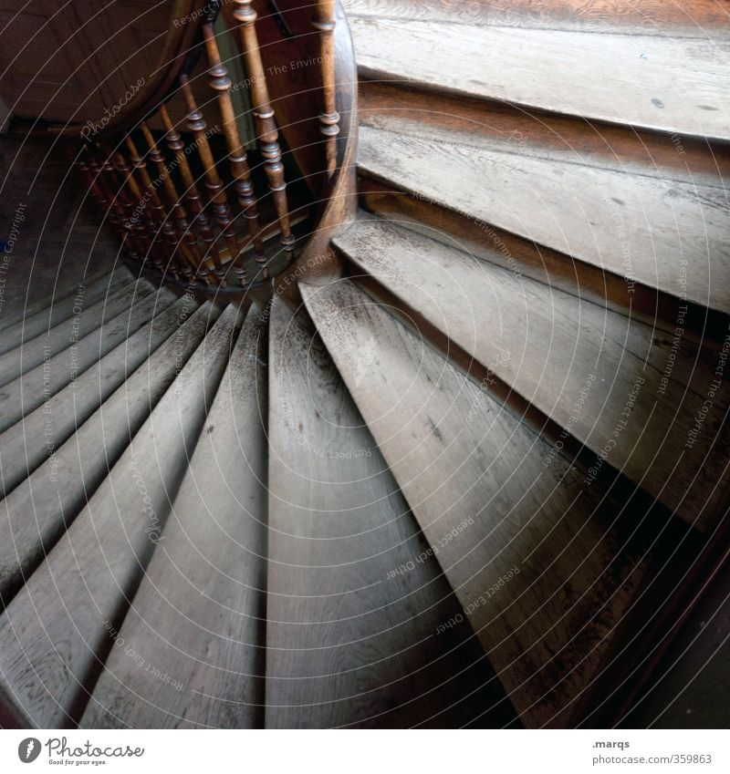 pe Living or residing Interior design Career Stairs Staircase (Hallway) Banister Old Beginning Perspective Esthetic Colour photo Interior shot Deserted Light