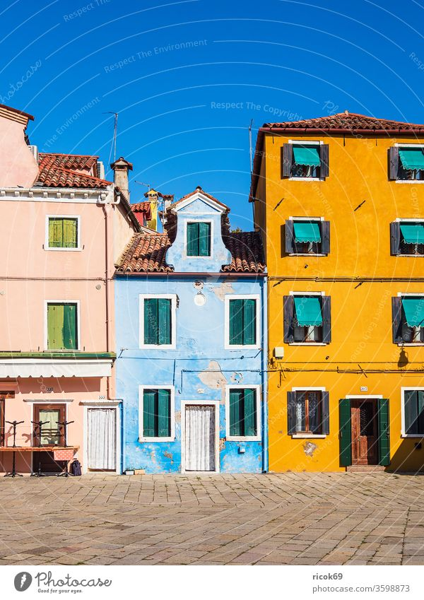 Colourful buildings on the island of Burano near Venice, Italy Island fishing island vacation voyage Town Architecture House (Residential Structure) built