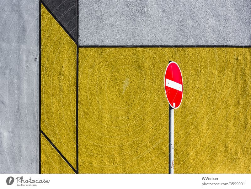 no entry in front of geometrically colored wall Highway ramp (entrance) forbidden Wall (building) Geometry moonrian Bauhaus Dessau Road sign Yellow angles
