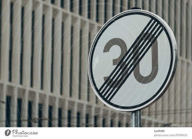Tempo 30 End Road sign Means of transport 30 mph zone Street Transport Signs and labeling Lanes & trails Deserted Signage Town Motoring Warning sign