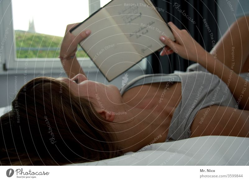 Printed matter | Reading makes beautiful Bedroom Cozy at home Book Relaxation Woman Morning To hold on Window décolleté Casual clothing Long-haired Light browse