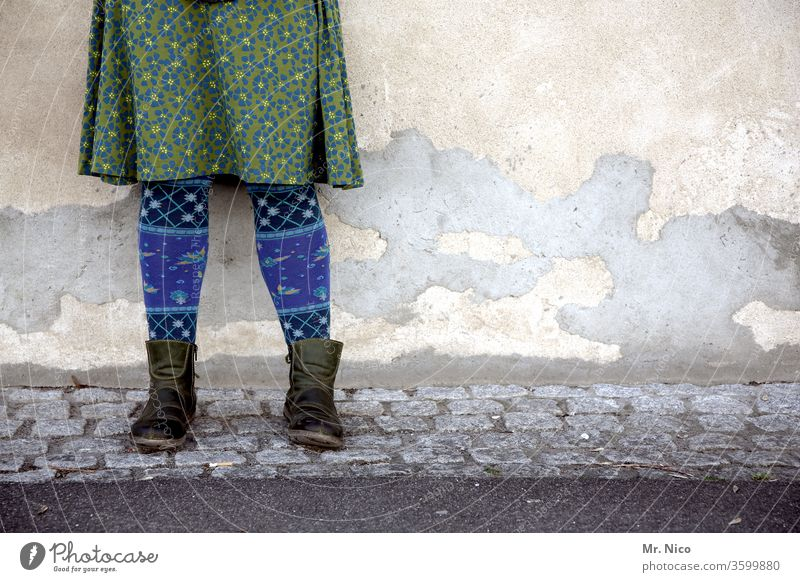 Haute couture   looks good on you Feminine Lifestyle Fashion Skirt Tights green Blue Boots Cobblestones Legs Facade traditionally Dress garments Shopping