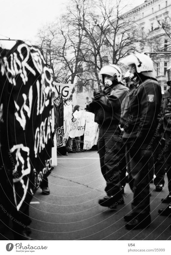Group Force Police Officer Aggression Hatred Demonstration Front side