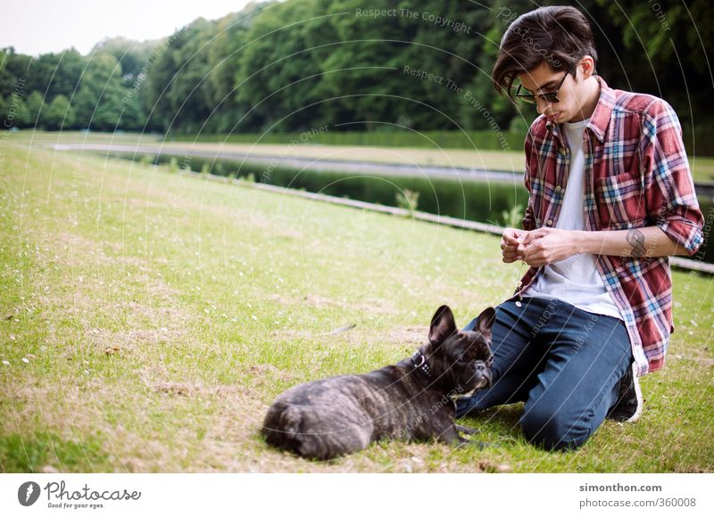 Dog Human being Nature Youth (Young adults) Calm 18 - 30 years Adults Love Style Friendship Park Together Masculine Leisure and hobbies Idyll Trip