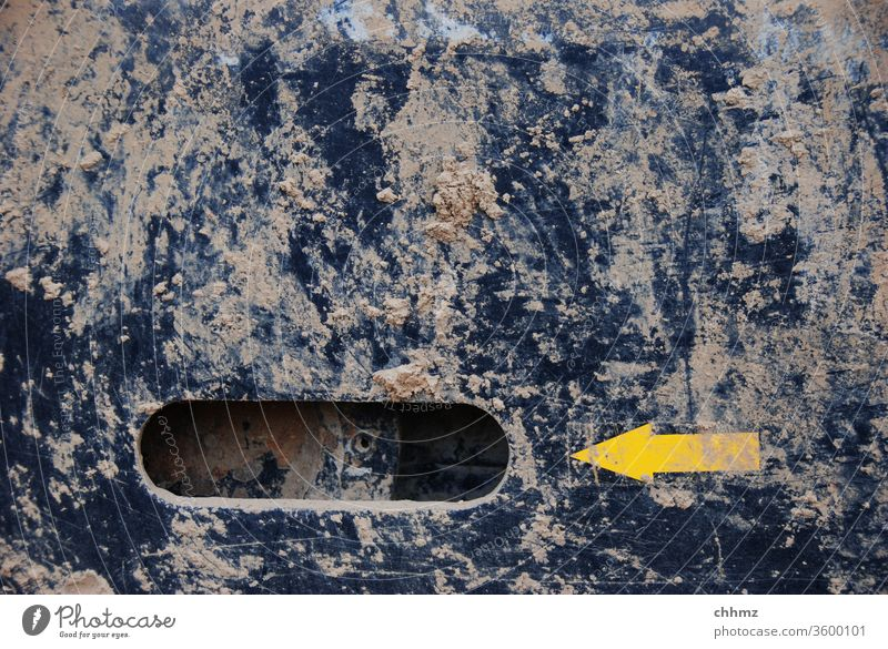 Yellow Arrow Left Dirty filth Metal Steel Black Excavator Hollow Copy Space top Construction site Mud Muddy Machinery Deserted point