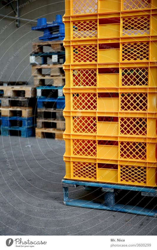 Pallets and crates Stack pile Crate warehouse Logistics deal Goods Cargo Palett Work and employment Warehouse Ramp Wholesale market Shipping Delivery cargo