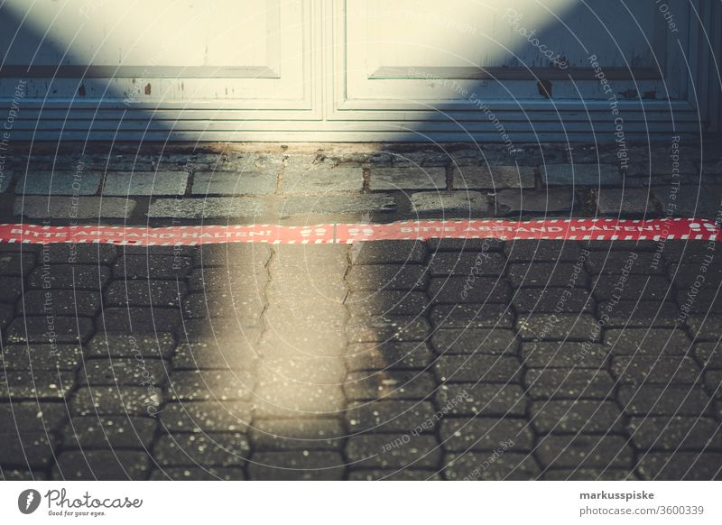 Please keep distance - Limit Marking gap Boundary Marker line social distancing social distance Corona virus Town