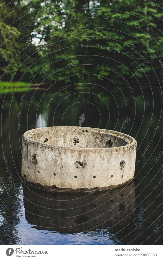 Concrete ring channel in the pond concrete ring Channel canal construction fishpond Pond Pond management carp farming Trout