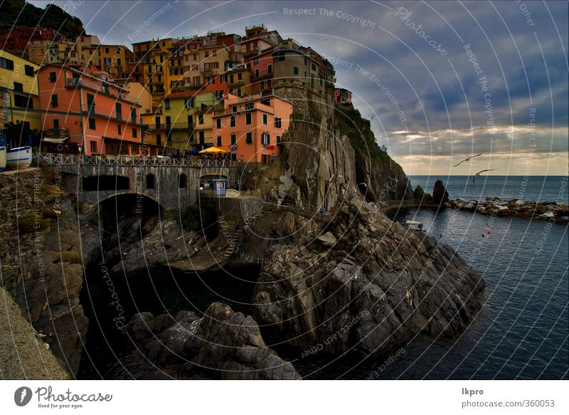 the stairs in village of manarola in th Sky Blue City Green White Ocean Red Clouds House (Residential Structure) Black Yellow Mountain Coast Gray Stone Rock
