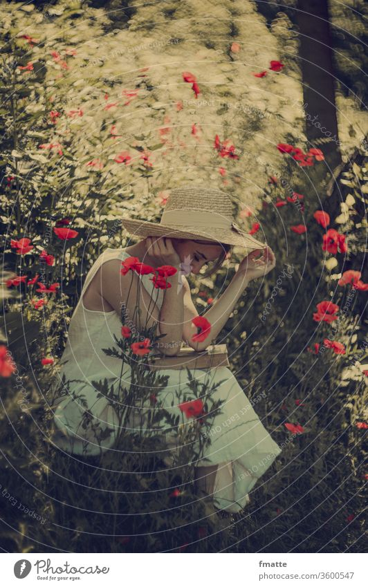 Woman with book in poppy Book Reading Poppy poppies Summer flowers Education already Nature Colour photo Red Literature