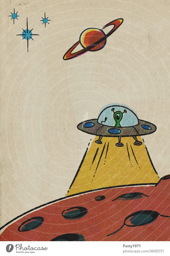 Retro cartoon UFO over lunar surface in halftone print / halftone effect Cartoon Comic Planet Lunar surface Universe Extraterrestrial illustration vintage Paper