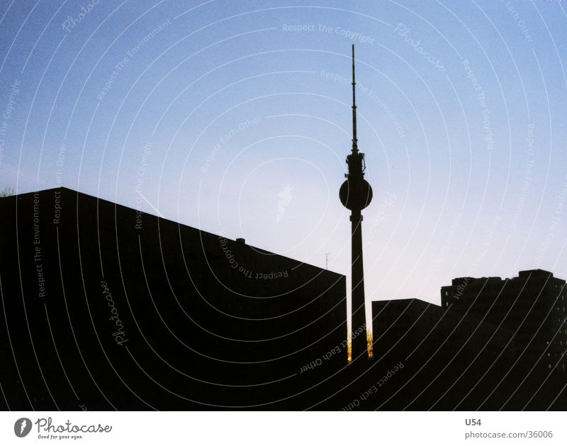profile Silhouette House (Residential Structure) Moody Physics Architecture Berlin Berlin TV Tower Evening Sky Sun Warmth